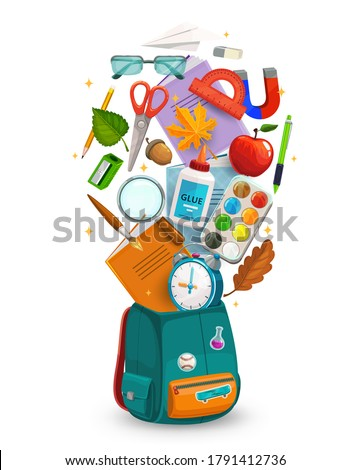 Student bag with back to school supplies, vector education. Open student backpack or back pack with book, notebook, pencil and brush, paint, scissors, glue and glasses, ruler, sharpener and apple Foto stock ©