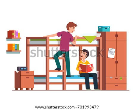 Student boy climbing up bunk bed ladder. Two teen brothers sharing bedroom. Friends studying at home together. Dormitory room interior with wooden wardrobe & bedside table. Flat vector illustration.