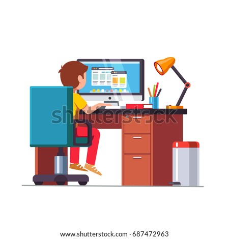 Student boy sitting at home office desk, doing school homework, surfing internet on desktop computer. Kids room with rolling chair, table, lamp & bin. Flat vector illustration isolated on white.