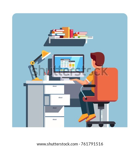 Student boy sitting at home office desk, doing school homework, surfing internet on desktop computer. Kids room with swiveling rolling chair, wooden table, lamp & bin. Flat style vector illustration.