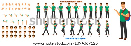 Student Character Model sheet with Walk cycle Animation Sequence