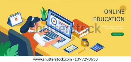 Student character study at computer. Can use for web banner, infographics, hero images. Flat isometric vector illustration isolated on white background.