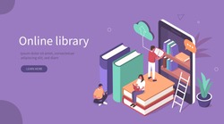 Student Characters Learning Online at Home. Character Reading Book in Online Library and Studying with Smartphone. Mobile Education Concept. Flat Isometric Vector  Illustration.
