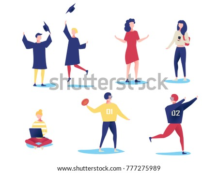 Student characters showing various activities isolated on white background. Young people with gadgets and equipment studying, talking and doing sport. Characters in cartoon style