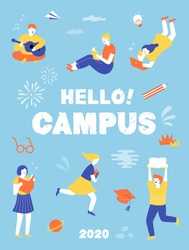 Student characters showing various activities on campus life. knowledge, relaxation, education, Information, university concept. Young people with gadgets and books. illustration vector flat design