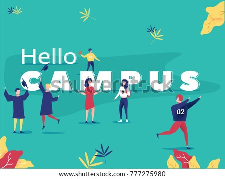 Student characters showing various activities on campus life. Park background poster concept illustration vector flat design. Young people with gadgets and equipment studying, talking and doing sport