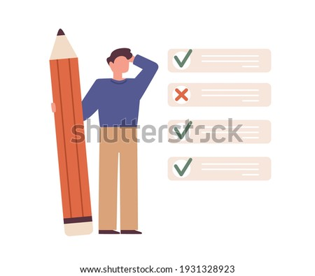 Student checking his test or exam result. Education and studying concept. Person and list with selected correct and wrong answers. Colored flat vector illustration isolated on white background