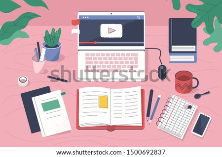 Student Creative Workplace. Modern Office Desk with Laptop, Books, Notebooks and other Studying Supplies. Online Education and  E-Learning Concept. Flat Cartoon Vector Illustration.