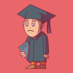 Student depressed with student loans vector illustration.  Education, savings, expenses, loan, debt design concept