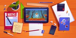 Student desk top view, teenager home workplace table with studying stationery tablet with computer game, textbooks, smartphone with headset, potted plant and calculator, Cartoon vector illustration