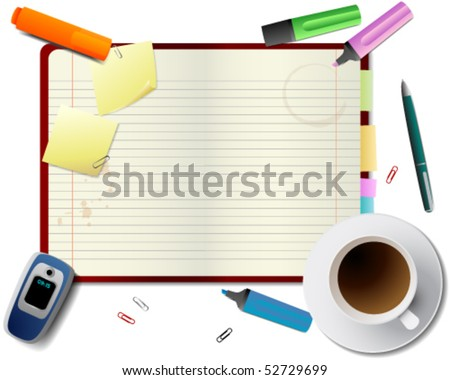 Student desktop - stock vector