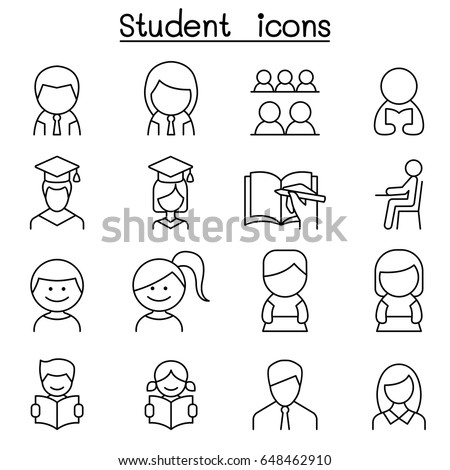 Student & Education icon set in thin line style