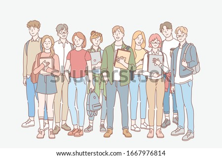Student, education, study, college set concept. Group of young men, women students friends teenagers together. University and college life. Education, learning, study process. Simple flat vector