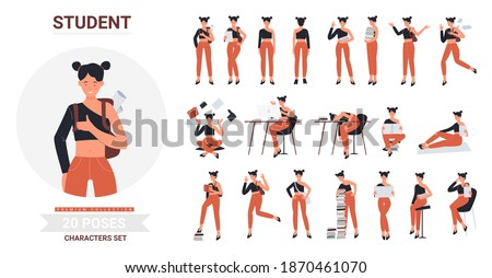 student girl pose infographic