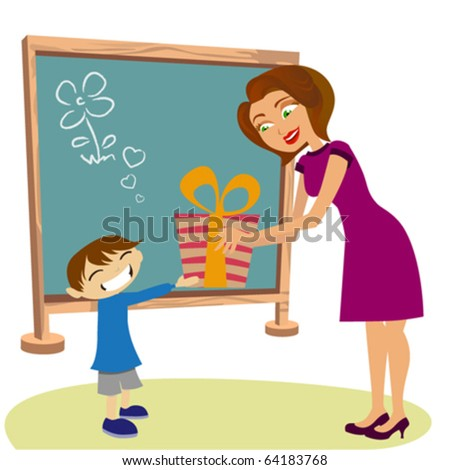 student giving gift her teacher - stock vector