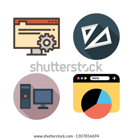 student icon set. vector set about set square, browser and computer icons set.