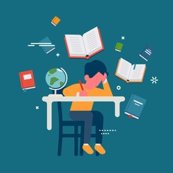 Student in learning process, abstract flat vector illustration. Kid sitting behind his desk studying, doing homework with open books around him