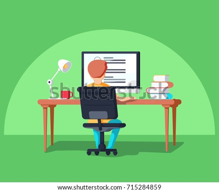 Student in learning process, back view. Kid sitting behind his desk studying online using his computer flat vector illustration with work table, books and lamp and cup etc.