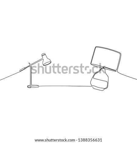student lamp and bed lamp continuous and one line lamps Vector illustration