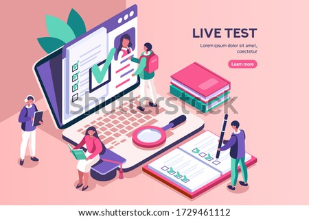 Student learning for diploma at the class with books. Course, class work for diploma test learning, academy student on online device working on test. Diplomas for students, academy education. Vector. Stok fotoğraf ©