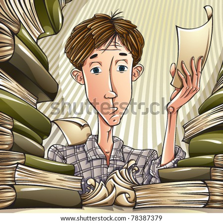 Student learning hard. Tired teenager surrounded by lots of books and papers, preparing for exam passing. Education vector illustration.