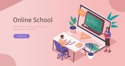Student Learning Online at Home. Character Sitting at Desk, Looking at Laptop and Studying with Exercise Books. Teacher Help him. Online Education Concept. Flat Isometric Vector  Illustration.