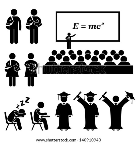 Student Lecturer Teacher School College University Graduate Graduation Icon Symbol Sign Pictogram