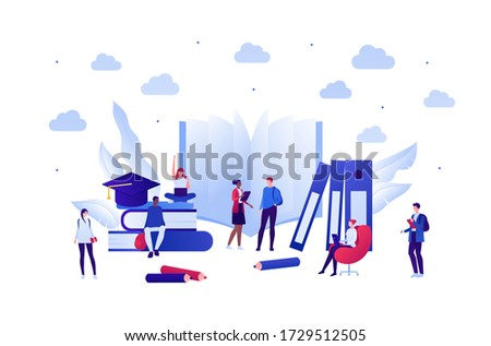 Student lifestyle and college education concept. Vector flat person illustration. Group of multi-ethnic young adult. School equipment. Book, laptop, pen, cap. Design for banner, web, infographic. stock photo