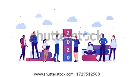 Student lifestyle and college education concept. Vector flat person illustration. Group of multi-ethnic young adult. Stack of books, 2020 text, backpack, laptop. Design for banner, web, infographic. stock photo