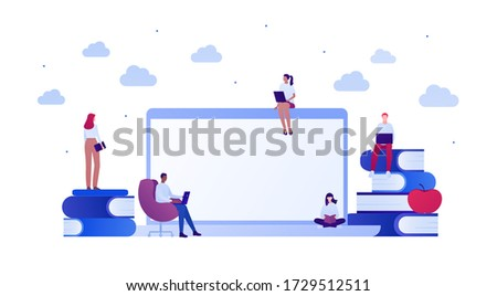 Student lifestyle and college education concept. Vector flat person illustration. Group of multi-ethnic young adult. Laptop computer with copy space, book, chair. Design for banner, web, infographic. stock photo