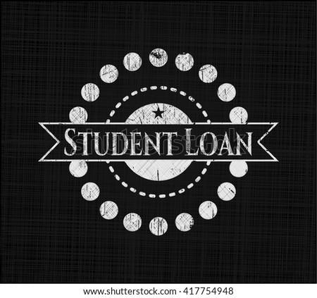 Student Loan chalk emblem, retro style, chalk or chalkboard texture