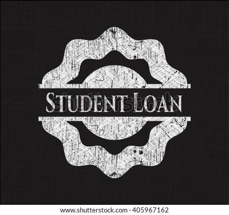 Student Loan chalkboard emblem written on a blackboard