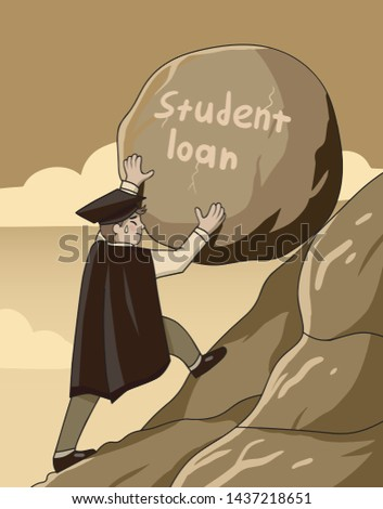 Student Loan concept with a graduate pushing a large heavy rock up a steep mountain conceptual of the burden of paying off the debt necessity of education ambition and perseverance-Vector illustration
