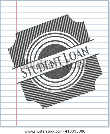 Student Loan emblem draw with pencil effect
