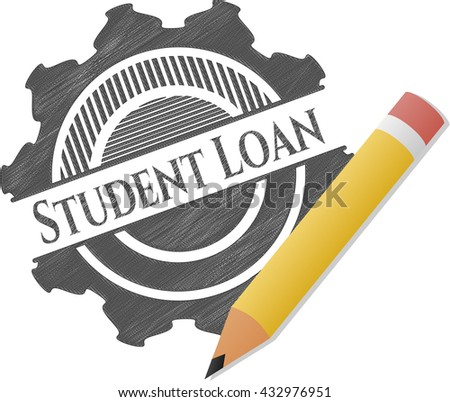 Student Loan emblem with pencil effect