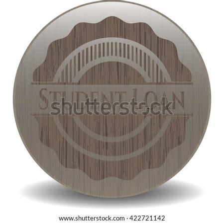 Student Loan retro style wooden emblem