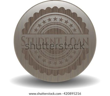 Student Loan retro wood emblem