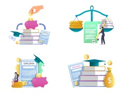 Student loan vector isolated illustration set. Piggy bank with dollar coins, stack of books, graduate hat, diploma etc. Investment in knowledge, scholarship, financial aid money savings for education.