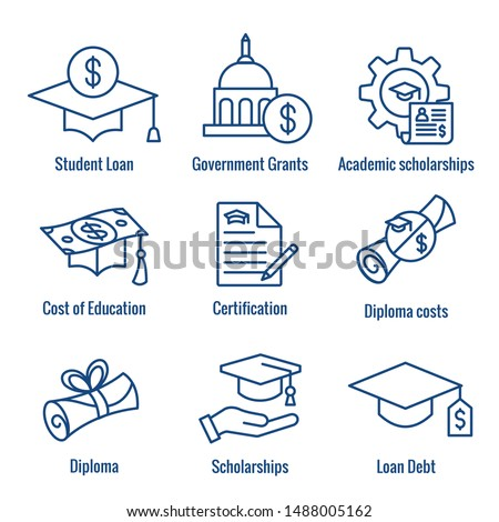 Student Loans Icon Set with Academic Scholarships and Debt Imagery