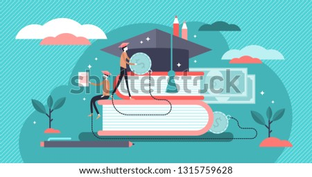 Student loans vector illustration. Flat tiny study finance persons concept. Education investment banking business. Economical system to get money for college or university. Payment obligation symbol.