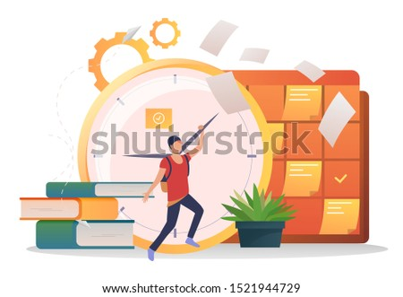 student moving clock hands