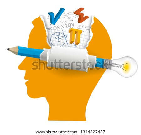 Student of mathematics, Smart solutions concept.  Stylized Male Head silhouette with mathematics symbols and pencil with bulb. Vector available.
