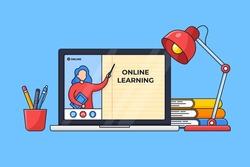 student online class starter pack desk setup for modern education digital schooling vector illustration. teacher live on screen laptop with office tools and sitting lamp outline flat design