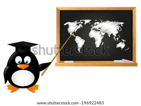 student penguin with school