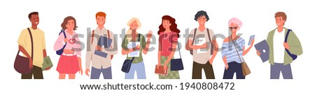 Student people diversity vector illustration set. Cartoon young multinational group of man woman diverse characters standing in row and waving, holding laptop, books and textbooks isolated on white.