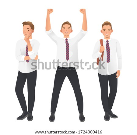 Student, pupil, high school boy in uniform. Poses Set on white background. Thoughtful pose, hand on chin. Winning pose with arm up. Relaxed pose with backpack. Flat vector illustration