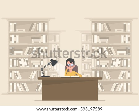 Student reading a book in the library. Vector illustration in a flat style.