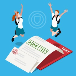 Student School University Admission Letter icon. Happy Junior People acknowledgment set. Isometric 3D Flat kid education college certificate. Passed Test creative design collection vector Illustration