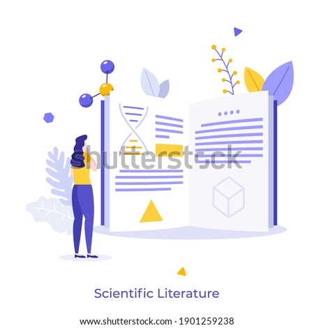 Student, scientist or researcher reading book or publication. Concept of scientific literature, article in academic or scholarly journal or magazine. Flat vector illustration for poster, banner. Сток-фото ©