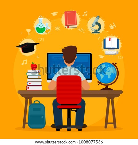 Student sitting at desk in online learning process on orange background. School homework. Surfing internet. Concepts of education and e-learning. Vector illustration. Flat design.